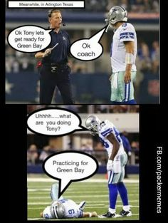 Packers & Cowboys play off game, Nfl Jokes, Funny Football Memes, Funny Nfl, Cowboys Memes, Funny Sports Memes, Sports Humor, Funny Sports Pictures, But Football, Nfl Football Players