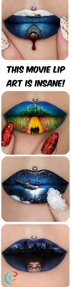 This movie themed lip art is amazing!