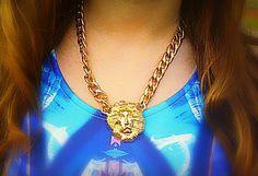 Gold Lion Head Necklace