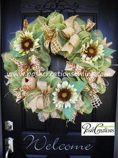 Year Round Wreath, Fall Wreath, Fall  Mesh Wreath, Burlap Wreath, Deco Mesh Wreath, Fall Decoration, Fall Decor, Custom Wreath