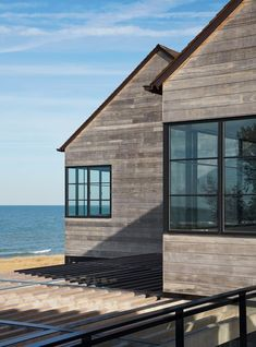 Photo 20 of 30 in St Joseph Beachfront Home by Wheeler Kearns Architects - Dwell Wood Cladding Exterior, Wood Siding, Through The Window, St Joseph, Modern Exterior, Outdoor Areas, Maine House, New Builds, Facade
