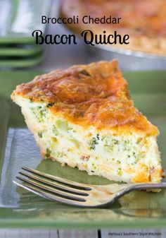 "Broccoli Cheddar Bacon Quiche – This cheesy broccoli cheddar quiche could only get better with the addition of bacon. The smoky undertones that bacon gives to the custard is mouthwatering. I'm not sure who started the saying ""real men don't eat quiche"" b Breakfast And Brunch, Breakfast Dishes, Breakfast Recipes, Bacon Breakfast, Quiche Au Brocoli, Broccoli Cheddar Quiche, Quiche With Bacon, Cheddar Cheese, Cheese Quiche"