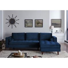 George Oliver Rafe Sectional Upholstery Color: Space Blue, Orientation: Right Hand Facing Furniture, Living Room Sofa, Living Room Furniture, Blue Living Room, Sectional Sofa, Sofa, Velvet Sectional, Sectional, Couches Living Room