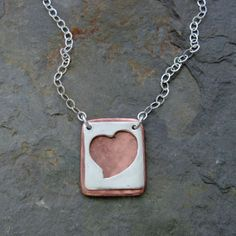 Silver Heart and Copper Necklace Mixed by IslandGirlExpression, $55.00