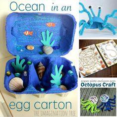 10 Under the Sea Crafts for Preschoolers - Unterwasserwelt Basteln Sea Crafts Preschool, Ocean Crafts, Octopus Crafts, Turtle Crafts, Dinosaur Crafts, Under The Sea Crafts, Under The Sea Theme, Toddler Art, Toddler Crafts