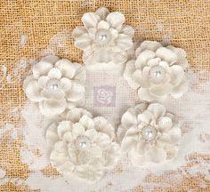 "Fabric Flowers - Paloma white 567262 - Burlap flowers 2"" -  2.5"" size - (5 pcs) applique flowers floral embellishment hair dress headband"