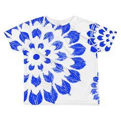 Blue Mandala All Over Print Kids Shirt, Blue #clothing #children #tshirt @EtsyMktgTool #bluemandalashirt #kidsblueshirt #giftsfromgrandma