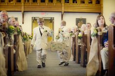 """Here comes the bride burlap and embroidered sign. added """"happily ever after"""" to sign for recessional. Dory L Tuohey Photography"""