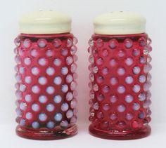 Vintage Fenton Cranberry Salt Pepper Art Glass by MicheleACaron, $149.00