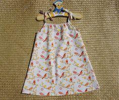 Robe à bretelles en coton bio motif oiseaux taille 4 ans : Mode filles par…