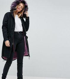 Noisy May Tall Parka Coat With Faux Fur Lining - Black