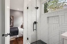 Walk in Shower Designs (Ultimate Guide) - Designing Idea Large Bathrooms, Small Bathroom, Bathroom Ideas, Bathroom Designs, Herringbone Tile Pattern, Fiberglass Windows, Build A Fireplace, Bathroom Tub Shower, Shower Installation