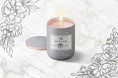 Our Floral Botanical Illustrations includes over 50 elements and 8 arrangements. Every flower, leaf and sprig was drawn by hand with brush and ink to give each Tin Candles, Candle Jars, Floral Illustrations, Graphic Illustration, Botanical Illustration Black And White, Adobe Illustrator Cs6, Free Graphics, Minimal Design, Creative Art