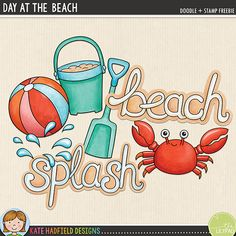 Day at the Beach – free summer scrapbook elements / cute clipart! Contains coloured and black & white line art versions. Hand-drawn illustrations for digital scrapbooking, crafting and teaching resources from Kate Hadfield Designs. Printable Crafts, Free Printables, Lisa, Digital Scrapbooking Freebies, Scrapbook Templates, Doodle Patterns, Free Graphics, Free Summer, Doodles