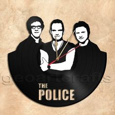GeoArtCrafts - Wall Clock Police Band Vinyl Record Clock