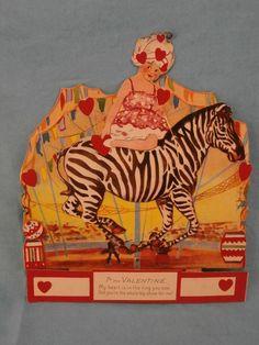 Vintage Large Mechanical Valentines Day Card Germany Circus Girl On Zebra-Unused
