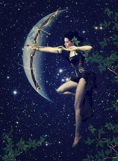 Full Moon in Sagittarius, Mutable Grand Cross and Moon In Sagittarius Woman, Sagittarius Art, Goddess Art, Moon Goddess, Artemis Goddess, Zodiac Art, Zodiac Signs, 12 Zodiac, Moon Zodiac