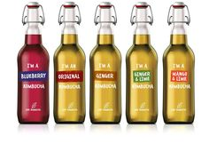 I'm a Blueberry Organic Kombucha Beverage Packaging, Bottle Packaging, Brand Packaging, Bottle Labels, Yerba Mate, Kombucha Brands, Probiotic Brands, Kombucha Bottles, Kombucha Tea