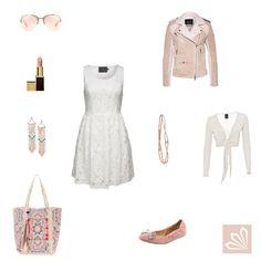 Outfit »Rosé und weiße Spitze«