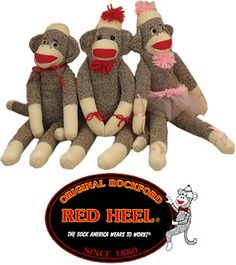 """The old-fashioned, handcrafted sock monkey dolls made with Original Rockford Red Heel socks from Fox River Mills have become a favorite piece of """"Americana. Polymer Clay Kawaii, Polymer Clay Animals, Socks And Heels, Red Heels, Iconic Socks, Sock Monster, Softie Pattern, Sock Animals, Monkey Business"""