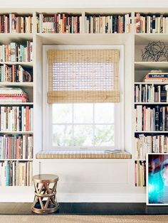 Interior Designers Reveal the Top 8 SmallSpace Tips They Swear By is part of Window nook - We asked interior designers to reveal the styling tips they swear by Scroll through eight inspired small living room ideas ahead Book Storage Small Space, Bookshelves For Small Spaces, Small Shelves, Floating Shelves, Home Library Design, Home Design, Interior Design, Library Ideas, Design Ideas