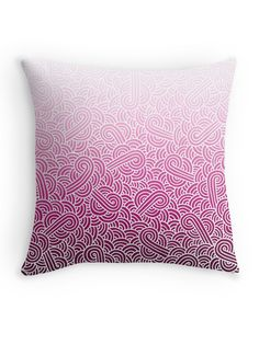 """Ombre pink and white swirls doodles"" Throw Pillow by @savousepate on @redbubble #throwpillow #homedecor #pattern #drawing #abstract #ombrepink #pink #pastelpink #magenta #fuchsia #white #gradientpink"