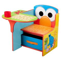 Advertisement - Sesame Street Elmo Toddler Desk Chair Playful Colors MDF Wood w/ Storage Bin Toddler Desk And Chair, Desk And Chair Set, Toddler Table, Toddler Playroom, Baby Chair, Toddler Bed, Storage Chair, Fabric Storage Bins, Playroom Storage