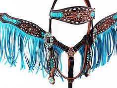 TURQUOISE GATOR HEADSTALL LEATHER WESTERN HORSE Curb FRINGE BREASTCOLLAR TACK