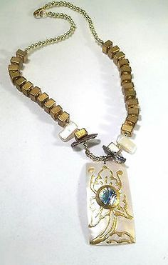 biwa pearls Abalone shell, round and square gold toned bead 17 in necklace 1288