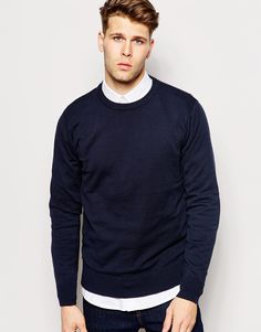 "Jumper by Brave Soul Lightweight knit Soft-touch finish Crew neck Ribbed trims Regular fit - true to size Machine wash 100% Cotton Our model wears a size Medium and is 183cm/6'0"" tall"