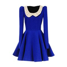 Peter Pan Collar Blue Dress ($160) ❤ liked on Polyvore