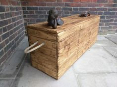 Rustic Storage Bench Seat Handcrafted from Reclaimed Wood with Hinged Lid and Rope Handles by TimberWolfFurniture on Etsy