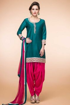 bbb40a9172 Buy Bestseller Latest Designer Green Silk Patiala Suit With Dupatta - 1865  for women online