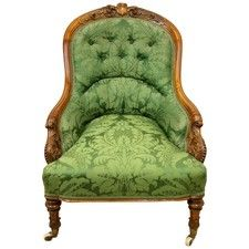 Mid Victorian Carved Walnut Ladies Easy Chair - OnlineGalleries.com