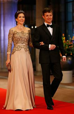 Royal Outfits of Crown Princess Mary: Mary in Birgit Hallstein Dress for Official Dinner in Amsterdam