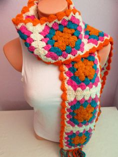 Crochet Colorful Flowery Woolen Scarf ,Elegance Scarf,Women Scarf,Gift İdea,Scarves,Scarf