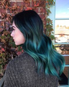 "From now on you can involve blue ombre hair colors into your ""must try"" list. Blue ombre hair colors have taken the world by storm. This shade comes in nume Brown Ombre Hair, Ombre Hair Color, Blue Hair, Dark Teal Hair, Violet Hair, Emerald Green Hair, White Hair, Turquoise Hair Ombre, Purple Ombre"