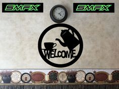 welcome coffee sign metal wall art by SCHROCKMETALFX on Etsy