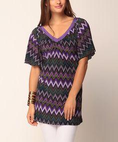 Look at this #zulilyfind! Purple Zigzag Amara V-Neck Tunic by Jantie #zulilyfinds
