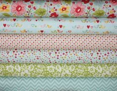 The Sweetest Thing quilt or craft fabric by Zoe Pearn for Riley Blake- Blue Fat Quarter Bundle, 6 total. $16.50, via Etsy.