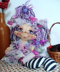 Купить Текстильная кукла Сиреневая феечка .Интерьерная кукла. - сиреневый, интерьерная кукла, текстильная кукла