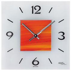 Hervorragend AMS 9260 Wanduhr Quarz, Rot Orangefarbenes Strukturglas