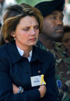 Mary Cahill, widow of Captain Joel Cahill is moved to tears during the monument dedication ceremony held at Fort Benning, Georgia on Friday March 24, 2006. Captain Cahill was killed in November 2005 while serving in Iraq with the 3rd Brigade 3rd Division U.S Army Infantry. The monument had the names inscribed of all the 3rd Brigade soldiers killed in Iraq in 2005.