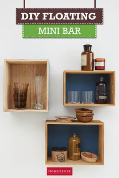 When you're short on space, consider wall-mounted storage. This DIY floating mini bar works great in place of a bar cart and it doesn't take up precious floor space. Create this look in your living room using wooden crates mounted on the wall with screws. Find wooden crates and other storage solutions at HomeSense for up to 60% less vs. department store prices.