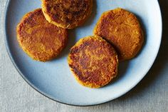 Turn your leftover sweet potatoes into savory, vegan, chickpea-filled cakes. (Because turkey eaters shouldn't have all the fun.)