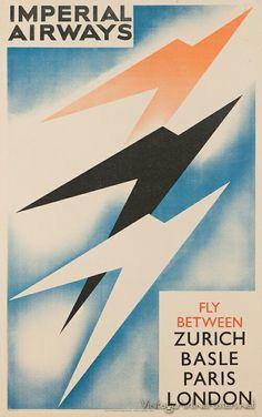 Imperial Airways-Zurich-Basil-Paris-London