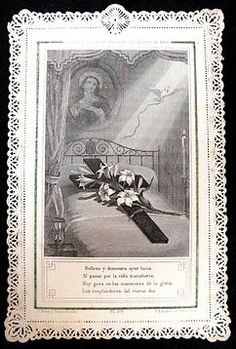 Antique Spanish Lace Holy Card ... The Holy Cross & Virginal Bed Of Mary's Daughter