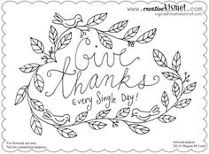 stitchery give thanks   give thanks - embroidery pattern by Regina (creative kismet), via ...