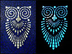"""Items similar to Glass mosaic wall art / wall hanging with fluorescent mosaics - """"Night owl"""" on Etsy Mosaic Wall Art, Mosaic Glass, Stained Glass, Royal Blue Background, Mosaic Designs, Hanging Wall Art, Art Deco Fashion, Light In The Dark, Techno"""