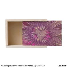 Pink Purple Flower Passion Abstract Fractal Art Wooden Keepsake Box